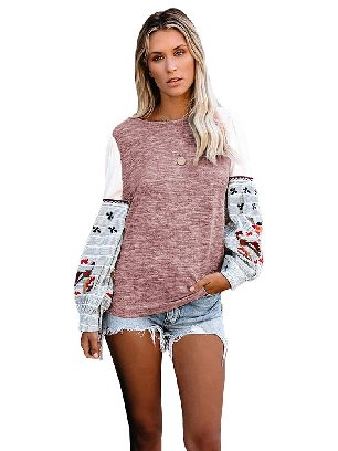Pink Long-sleeved Contrast Printed Knit Embroidery Cuffs Sweatshirts