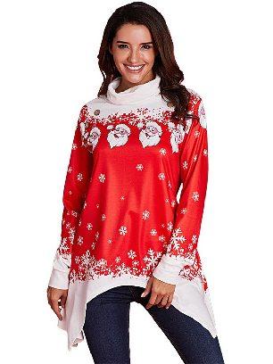 Christmas Cowl Neck Santa Claus Snowman Xmas Irregular Hem Tunic Top
