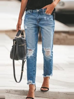 Fall winter New Style Ripped Slim Fit Washed Ancle-length Jeans