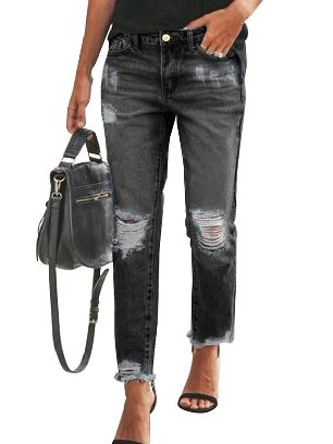 Black Fall winter New Style Ripped Slim Fit Washed Ancle-length Jeans