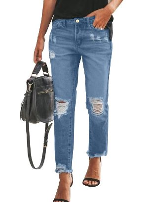 Sky blue Fall winter New Style Ripped Slim Fit Washed Ancle-length Jeans