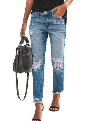 Light Blue Fall winter New Style Ripped Slim Fit Washed Ancle-length Jeans