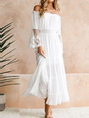Women One-shoulder Embroidery Hollow Flared Sleeve Lace Maxi Dress