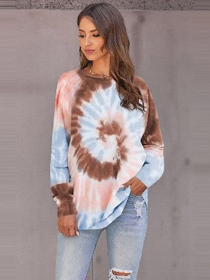 Ombre Tie Dye Printed Loose Leisure Sweatshirt
