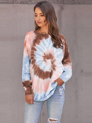 Supply Ombre Tie Dye Printed Loose Leisure Sweatshirt