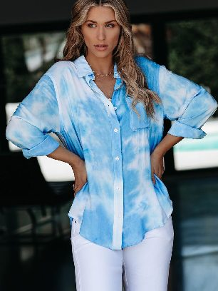 Supply Gradient Whirlwind Tie Dye Button Women Ancle-length Loose Shirt with Pocket