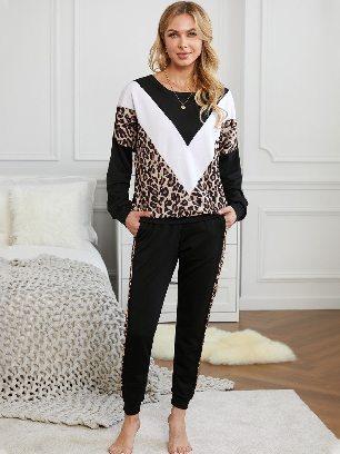 Fall Winter Colorblock Leopard Print Round Neck Cheetah Sweatshirt Pants Set