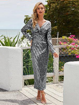 Supply Elegant Long Sleeve V Neck Twist Ruched Sequin One Step Maxi Dress