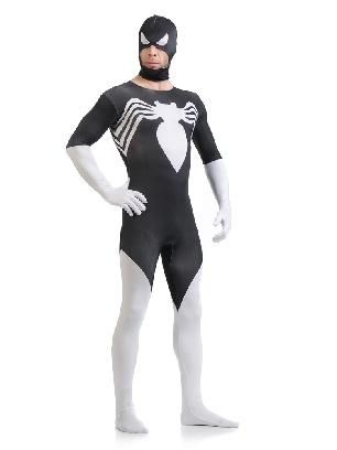 Black and White Spiderman Super Hero Halloween Full Body Morph Costume Spandex Holiday Unisex Lycra Morph Zentai Suit