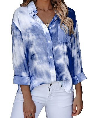 Blue Gradient Whirlwind Tie Dye Button Women Ancle-length Loose Shirt with Pocket