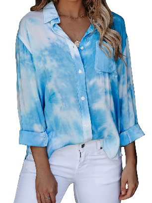 Light Blue Gradient Whirlwind Tie Dye Button Women Ancle-length Loose Shirt with Pocket