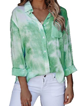 Green Gradient Whirlwind Tie Dye Button Women Ancle-length Loose Shirt with Pocket