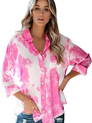 Pink Gradient Whirlwind Tie Dye Button Women Ancle-length Loose Shirt with Pocket