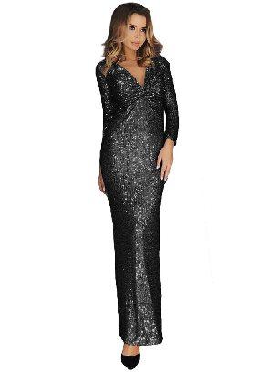 Black Elegant Long Sleeve V Neck Twist Ruched Sequin One Step Maxi Dress