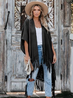 Supply Pure Color Travel The World Tassel Knit Kimono