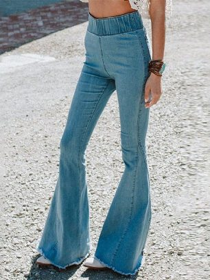 High-waisted Solid Color Flared Pants Plus Size Wide-leg Jeans