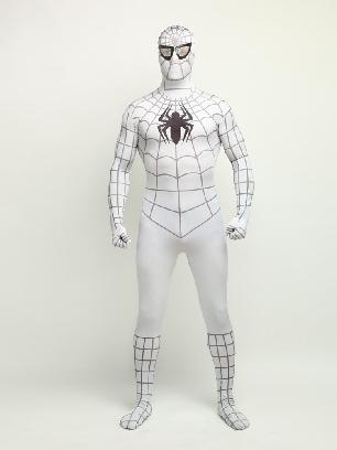 White Spiderman Super Hero Full Body Morph Costume Spandex Holiday Unisex Lycra Morph Zentai Suit