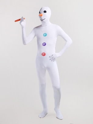 White Snowman Cartoon Lycra Full Body Morph Costume Tights Zentai Suit