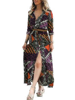 Supply Fall Winter Mid-length Boho Print Belted High Waist Maxi Shirt Dress