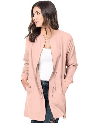 Pink Zipper String Adjustable Drawstring Pocketed Outcoat