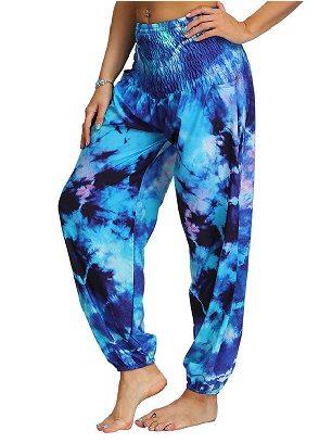 Supply Dark blue Cross Waist Boho Tie-dye Casual Loose Hippy Harem Loose Yoga Pants