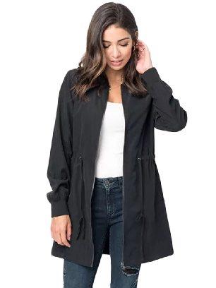 Black Zipper String Adjustable Drawstring Pocketed Outcoat
