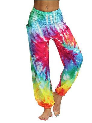 Supply Orange Cross Waist Boho Tie-dye Casual Loose Hippy Harem Loose Yoga Pants