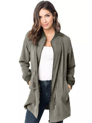 Green Zipper String Adjustable Drawstring Pocketed Outcoat
