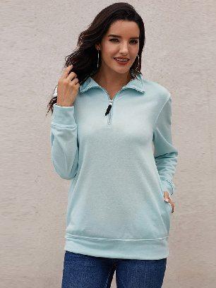 Fall Winter Loose High-neck Quarter Zip Sweatshirt