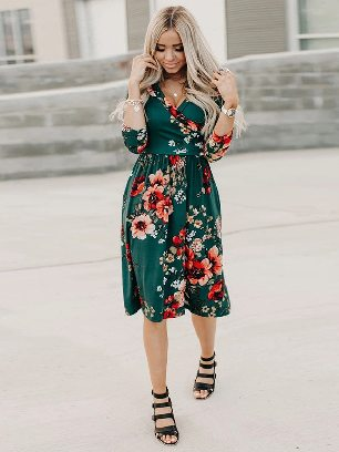 New Style Floral 3/4 Sleeve Wrap Dress Women