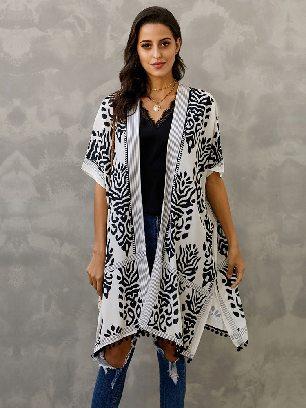 Supply Women Beach Printed Prowess Mid-length Loose Kimono