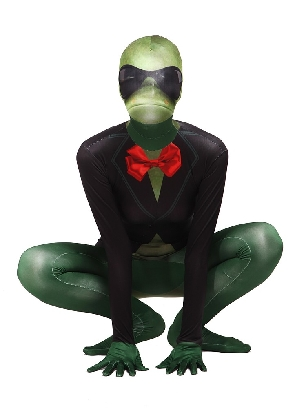 Green Sir Frog Full Body Morph Costume Halloween Spandex Holiday Unisex Cosplay Zentai Suit