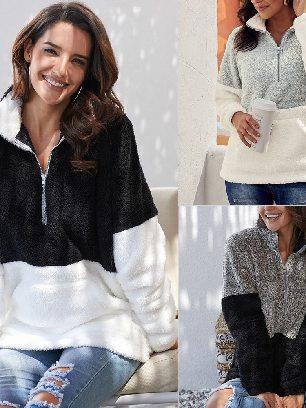 High Collar Zipper Kangaroo Pocket Oversize Fluffy Fleece Pullover