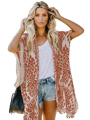 Orange Women Beach Printed Prowess Mid-length Loose Kimono