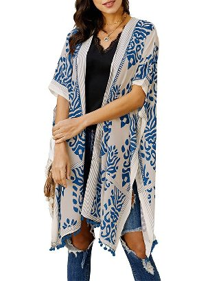 Blue Women Beach Printed Prowess Mid-length Loose Kimono