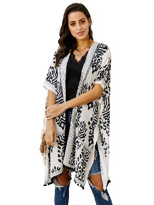 Black Women Beach Printed Prowess Mid-length Loose Kimono