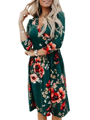 Green New Style Floral 3/4 Sleeve Wrap Dress Women