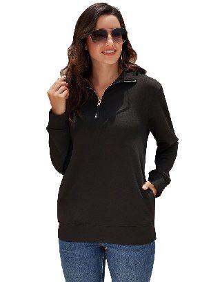 Black Fall Winter Loose High-neck Quarter Zip Sweatshirt