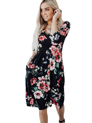 Black New Style Floral 3/4 Sleeve Wrap Dress Women
