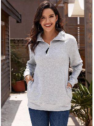 Gray Fall Winter Loose High-neck Quarter Zip Sweatshirt