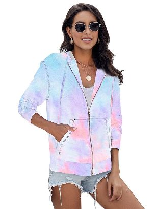 Women Long-sleeved Sweater Tie-dye Pocket Zip Up Hoodie