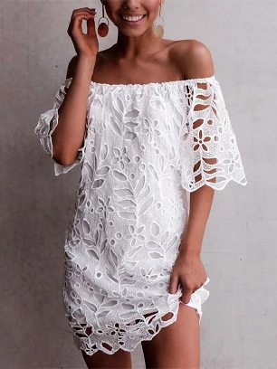 Lace Embroidered Detail Off The Shoulder Half Sleeve Dress