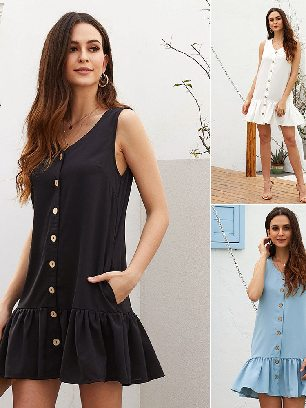 Supply Women Summer Pocketed Button Down Ruffled Hem Dress