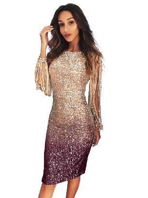 Apricot Gradient Ombre Sequin Tassel Sleeve Bodycon Prom Dress