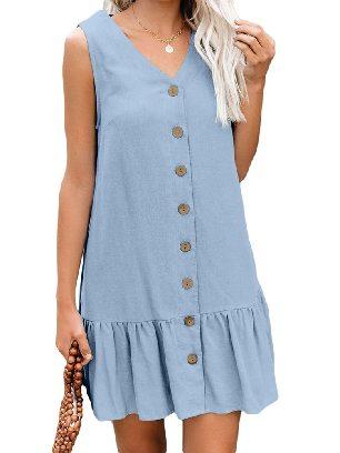 Light Blue Women Summer Pocketed Button Down Ruffled Hem Dress