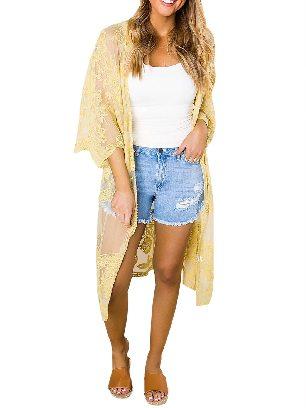 Yellow Sexy Crochet Loose Lace Kimono