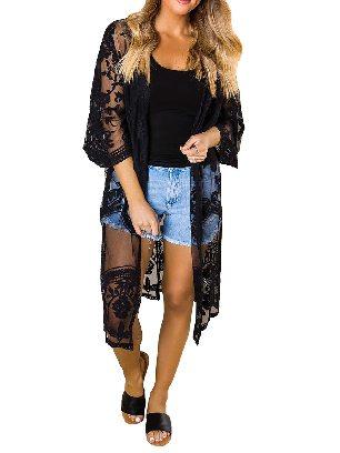 Black Sexy Crochet Loose Lace Kimono