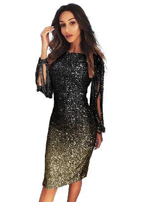 Black Gradient Ombre Sequin Tassel Sleeve Bodycon Prom Dress