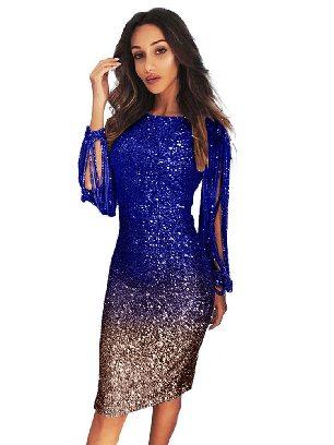 Blue Gradient Ombre Sequin Tassel Sleeve Bodycon Prom Dress