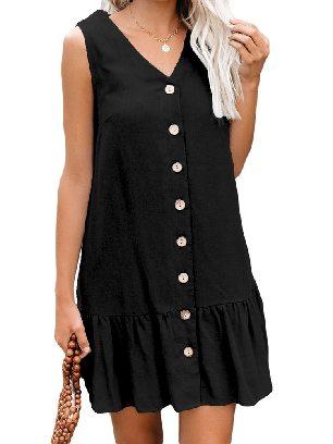 Black Women Summer Pocketed Button Down Ruffled Hem Dress